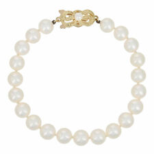 "Mikimoto 7mm - 7.3mm Akoya Pearl Bracelet 6 1/2"" - 18k Gold Knotted Strand w/Box"