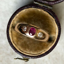 1980's Vintage 18ct Gold, Diamond and Ruby Gypsy Ring