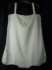 Antique 1910-1920s Ivory Cotton Hand Sewn Embroidery Night Romper-Bust 39/M