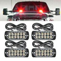 4X Red 12 LED Auto Truck Emergency Beacon Warning Hazard Strobe Flash Light Bar