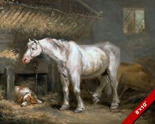 OLD WHITE HORSE & DOG IN THE STABLE OIL PAINTING ART REAL CANVAS GICLEE PRINT