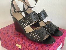 TORY BURCH SZ 10 PERFORATED GLADIATOR WEDGE BLACK LEATHER SHOES