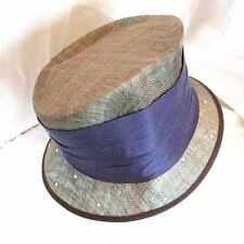 VINTAGE ASYMETRIC STYLISH TWEED EFFECT STRAW TOP HAT WIDE SASH RHINE STONES WOW