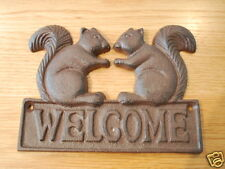 Cast Iron Squirrels WELCOME Sign Rustic Wall Decor Garden Decor