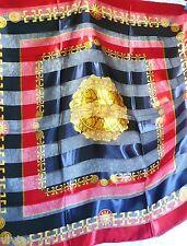 Glanz Motiv Tuch Stola, Satin SONNE edel 102 x 102 gold dunkel blau rot NEU #3