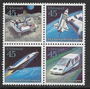 Scott C122-25 US Air Mail Stamp 1989 45c Future Mail Transport Block of 4 MHG
