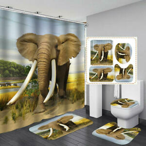 African Elephant Shower Curtain Bath Mat Toilet Cover Rug Bathroom Decor