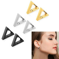 Punk Rock Stainless Steel Triangle Hoop Huggie Ear Studs Earrings Birthday Gift
