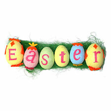 Pack of 6 Multicolour Easter Eggs with Letters & Green Easter Grass