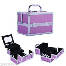 HomCom Alu. Makeup Train Case Cosmetic Box Travel Jewelry Organizer Lockable