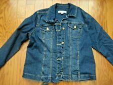 WOMEN'S CROFT & BARROW STRETCH JEANS JACKET IN LARGE - GOOD PRE-OWNED CONDITION