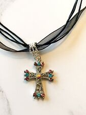 Small Medieval Victorian AB Rhinestone Cross Silver Ribbon Cord Necklace Gothic
