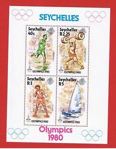 Seychelles #455a  MNH OG  Souvenir  Sheet of 4 Olympics  Free S/H