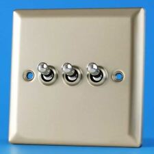 Varilight 3 Gang 10A 1 or 2 Way Dolly Toggle Light Switch Satin Chrome