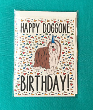 Bearded Collie Dog Happy Birthday Card Handmade Celebration Note Card