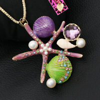 Betsey Johnson Women's Sea Star Starfish Shell Conch Pendant Chain Necklace Gift