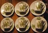 Set of 6 Vintage SCHMID DESIGN FOLIO Espresso Demitasse Cups & Saucers GREEN