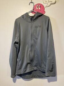 Nike Elite Dry Fit Zip Up Hooded Jacket Shirt Large Gray