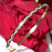 "10k multi tone gold bangle bracelet 8.0"" diamond cut vintage handmade 2.5gr"