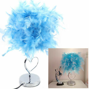 Feather Table Lamp Modern Desk Night Light Bedside Decor Blue Touch Switch USA