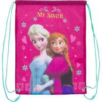 Disney Frozen Grand Rose Cordon Maillot de Bain Gym Sac Avec Anna Et Elsa