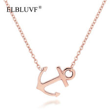 ELBLUVF Stainless Steel Rose Gold Women Sideways Anchor Necklace Hope Jewelry