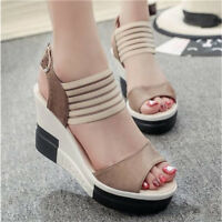 Women's Sandals Casual Shoes Open Toe Wedge High Heel Fish Mouth Buckle Shoes