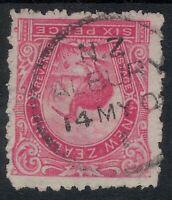 New Zealand Pictorials 6d Kiwi POSTMARK *ALBURY* NZ 1902 CANCEL Rose Red?  sg312