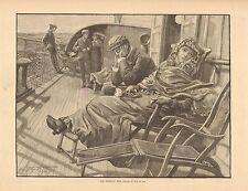 Travel, Ocean Liner, Sea Sick, The Wedding Trip, Vintage 1883 Antique Art Print