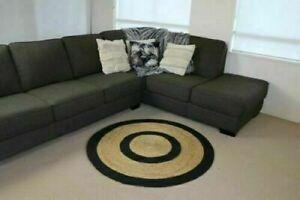 Rug 100% Natural Jute Reversible Round Home Decor Rug Rustic Modern Look Carpet