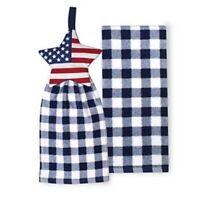 Celebrate Americana Together Tie Top Star 2 Piece Kitchen Towel Set