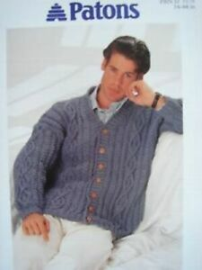 Patons Double Knit Vintage Men's Cable Knit Cardigan Knitting Pattern 5176