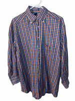 Jeff Rose Mens Blue Check Dress Button Down Shirt Sz Large L Italy Made Long Sle
