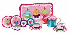 Toy Teaset Pink with cupcake design 15 pieces