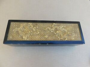 """Antique Chinese Republic Gold Gilt Dragons Black Lacquer Box Marked 12"""""""