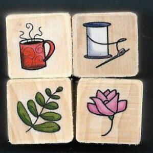 CUP STEAM NEEDLE THREAD FERN LEAF ROSE Lady Gift Tag NEW MINI LOT RUBBER STAMPS