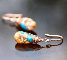 Natural Oyster Turquoise Earrings 14k Rose Gold Filled , Sparkle Hooks December