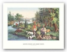 Hunting Fishing and Forest Scenes Currier and Ives Art Print 13x8