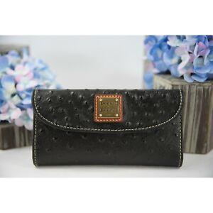 Dooney & Bourke Black Ostrich Leather Trifold Wallet NWT