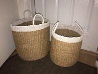 JOHN LEWIS Fusion White Tip Baskets Set of 2