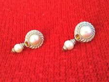 Judith Ripka Sterling Silver & Cultured Mabe' Pearl Pierced Earrings ~NEW~