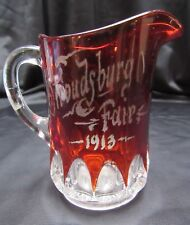 Antique Ruby Stain Pattern Glass Commerative Stroudsburg PA 1913 Fair Creamer