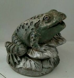 Vintage Cast Concrete Cement Figural Frog Water Fountain Pond Spitter SIGNED