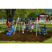 Playground Metal Swing Set Swingset Outdoor Play Slide Kids Backyard Playset NEW