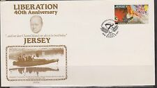 Gb-Jersey 1985 LIBERATION 40th Anniversary 13p Pre-tamponnée Cover ps1 FDC Flags