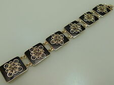 Bracelet sterling argent 925 s Holt holth OSLO NORWAY enamel Black