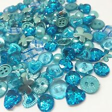 Delightful Mixed 150  Blue/Turquoise Flatback & Buttons Cardmaking Embellishment