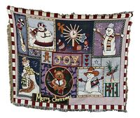 Tache Festive Christmas Wonderful Season Snowman Woven Tapestry Throw Blanket