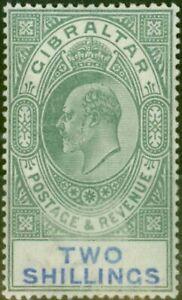 Gibraltar 1903 2s Green & Blue SG52 Fine & Fresh Lightly Mtd Mint (3)