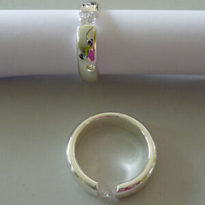 Napkin Rings 2er Set Ring Solitaire Silver Plated Wedding Christening Christmas